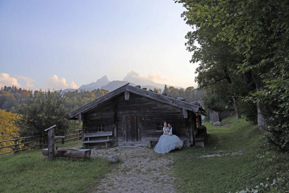 Märchenhochzeit / ...in Berchtesgaden vor dem Watzmann