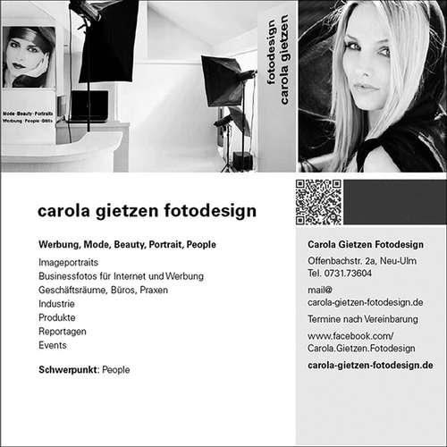 Carola Gietzen Fotodesign - Carola Gietzen - Modefotografen aus Alb-Donau-Kreis ★ Preise vergleichen