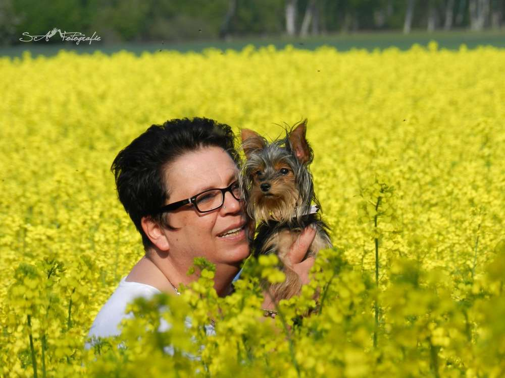 Portrait Foto / Im rapsfeld mit Hund und Frauchen